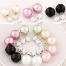 big stud earrings 2017 side big stud earrings shining pearl earings with