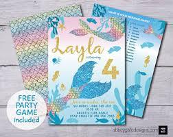 mermaid birthday party invitations mermaid invites purple