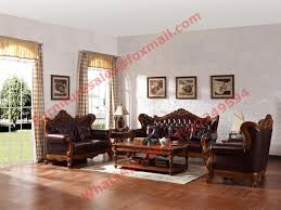 european classic solid wooden carving frame with italy leather Leather Upholstery Sofa