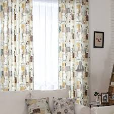 Retro Curtains Retro Style Curtains Decorated With Postcards Patterns