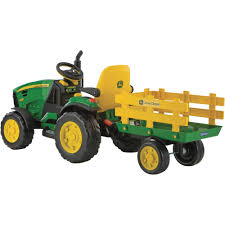 John Deere Home Decor by Peg Perego John Deere Ground Force 12 Volt Tractor With Trailer