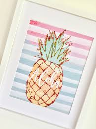 Pineapple Decorations For Kitchen by Pineapple Prints Summer Art Kitchen Decor Set Of 3 Prints Gift