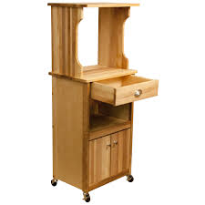furniture natural wood microwave carts with storage cabinet for