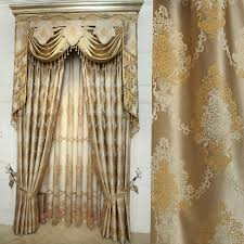 Gold Color Curtains Jacquard Craft Faux Silk Gold Color Of Thick Blackout Curtain