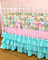 Rocket Ship Crib Bedding by Custom Baby Crib Bedding Lily Belle Turquoise