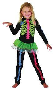skeleton costume multicoloured bones girls jumpsuit halloween