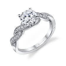 Circle Diamond Wedding Ring by Criss Cross Shank Round Diamond Engagement Ring Sylvie