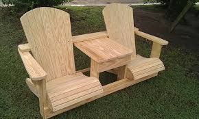 Adirondack Deck Chair Outdoor Wood Plans Download by Double Adirondack Chair Made By My 22 Year Old Grandson In Nc