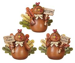 thanksgiving decoration set of 3 turkey decor figures for table