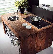 wooden kitchen islands reclaimed wood kitchen island with rustic style also