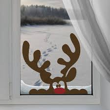 Front Windows Decorating Peeping Reindeer Window Sticker Front Windows Window And Nose