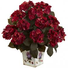 silk hydrangea 23 inch indoor silk hydrangea with large floral planter 1396