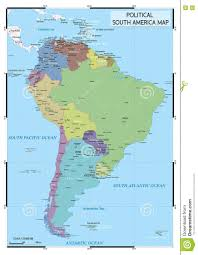 Countries Of South America Map Political South America Map Stock Vector Image 80889325