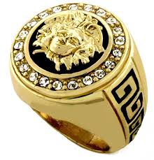 hip hop medusa gold tone men ring 2