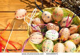 wax easter egg decorating wax painted easter eggs made stock photo 604083086