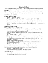 agreeable nanny sample resume objectives for child care resume
