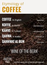 where did the word coffee come from the roasters pack