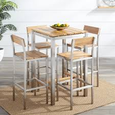 Bar Stool And Table Sets Macon 5 Piece Square Teak Outdoor Bar Table Set Natural Teak
