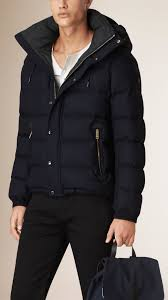 burberry down filled wool flannel jacket in blue for men lyst