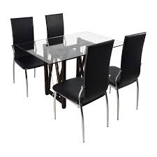 61 off glass top dining table and leather chairs tables