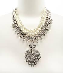 rhinestone statement necklace images Belle badgley mischka rhinestone faux pearl pendant statement jpg