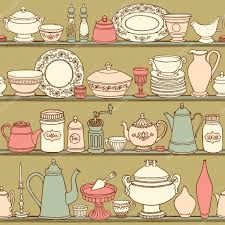 shabby chic kitchen vector seamless pattern with cooking items
