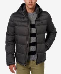 tommy hilfiger men s classic hooded puffer jacket in black for men