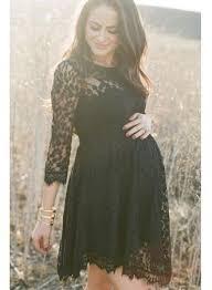 elegant black lace maternity dress 3 4 long sleeve short baby