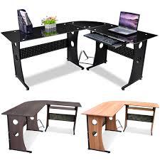 Black Glass L Shaped Computer Desk Tinkertonk Black Glass Computer Desk Home Office Corner Desk Set