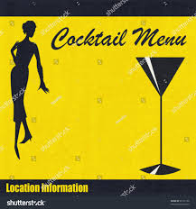 martini bar menu background illustration cocktail bar menu 1950s stock vector