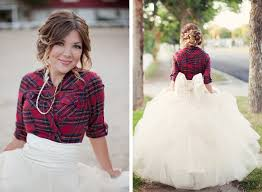 tomboy wedding dress plaid winter in flannel tulle skirt with back bow