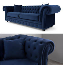 Blue Velvet Chesterfield Sofa Velvet Chesterfield Sofas Armchairs Suites Ebay