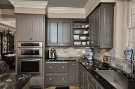 gray cabinets with black countertops enchanting black marble countertop with gray stone backsplash design