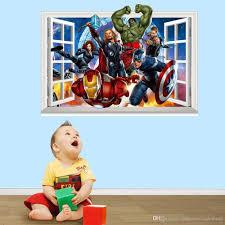 4 styles 3d window avengers the hulk wall stickers super hero iron