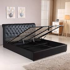 Leather Bed Frame Queen Valencia Gas Lift Pu Leather Bed Frame Queen Or King Size Black