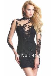 new years dresses for sale hot sale high neck lace applique sleeve black dress