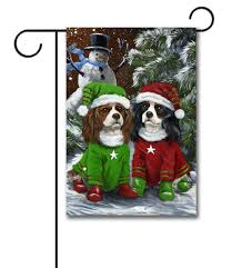 cavalier king charles spaniel snowman pet flags flagology