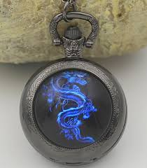 woman necklace watch images Fiery blue dragon quartz pocket watch necklace woman lady black jpg