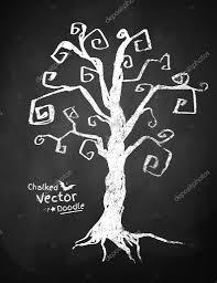 chalkboard drawing of spooky tree u2014 stock vector