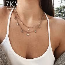 multi layer pendant necklace images 17km boho star moon multi layer pendant necklace for women 2018 jpg