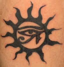 adorable black ink sun tattoo design idea