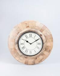 buy fabindia beige wooden wall brick clock online fabindia com