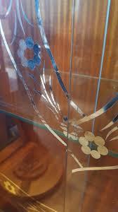 Art Deco Round Display Cabinet Wooden Curved Art Deco Silver Leaf Round Curio Bookcase Curio