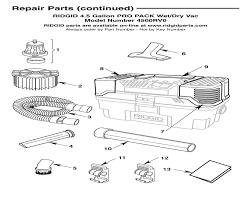 Ridgid Table Saw Parts Parts 4 5 Gallon Propack Wet Dry Vac Ridgid Store