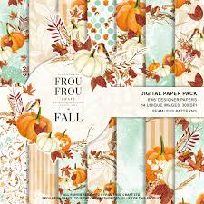 autumn halloween background autumn paper pack fall background pumpkin scrapbook watercolor