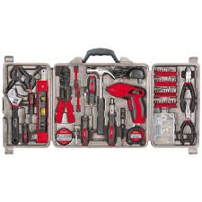apollo 161 piece household tool kit with 4 8 volt screwdriver