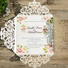 flower ivory laser cut wedding invitations