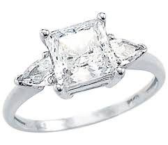 diamond rings zirconia images Solid 14k white gold ladies princess cut cz cubic zirconia jpg