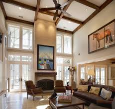 Cathedral Ceiling Living Room Ideas Cathedral Ceiling Living Room With Wooden Exposed Beams And