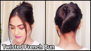 1 min twisted french bun for long hair everyday easy running late
